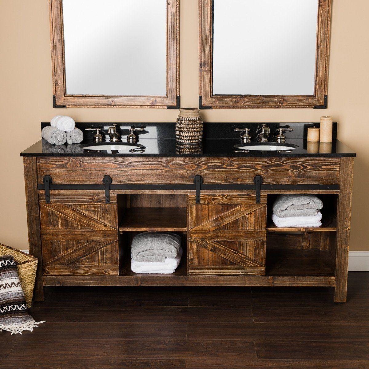 72 Inch Cottage Barn Door Vanity Rustic Master Bathroom Diy Bathroom Vanity Bathroom Redesign [ 1200 x 1200 Pixel ]