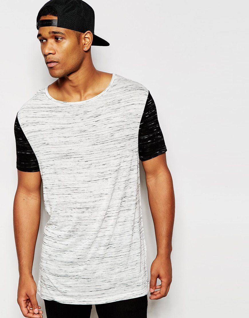 ASOS Longline T-Shirt With Stretch Neck In Slub Fabric With Contrast  Sleeves