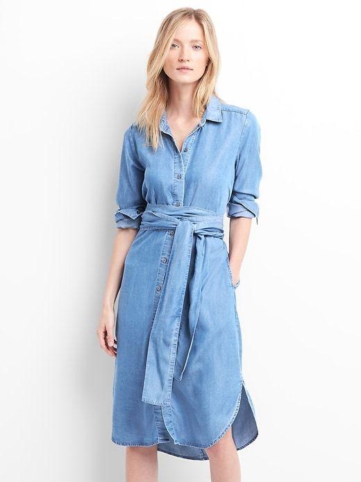 c78e0a54eff Gap Womens Tencel™ Tie-Waist Midi Shirt Dress Medium Indigo ...