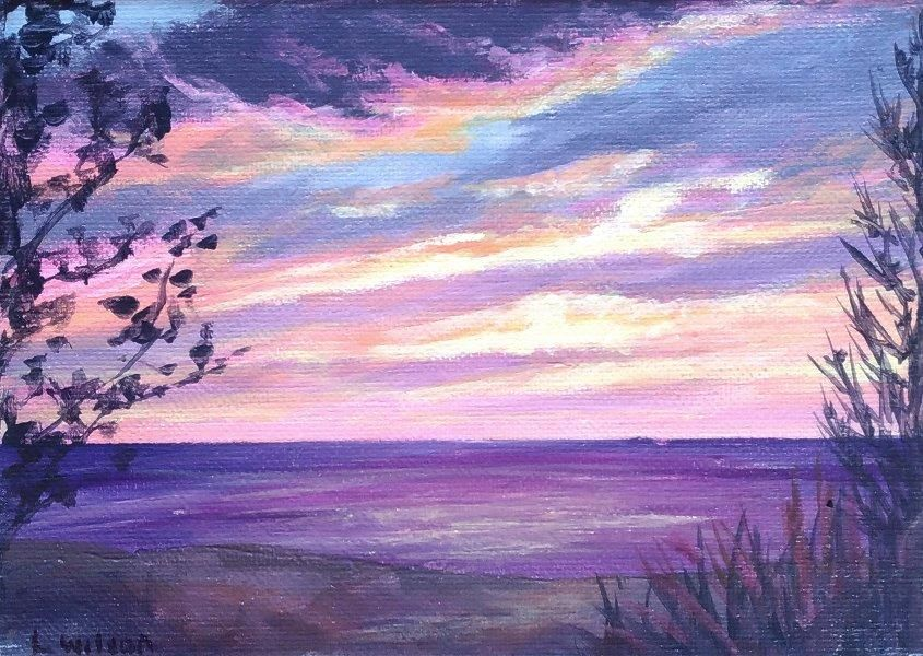 Pink Sunset Over The Beach Seascape Painting Acrylic On Canvas
