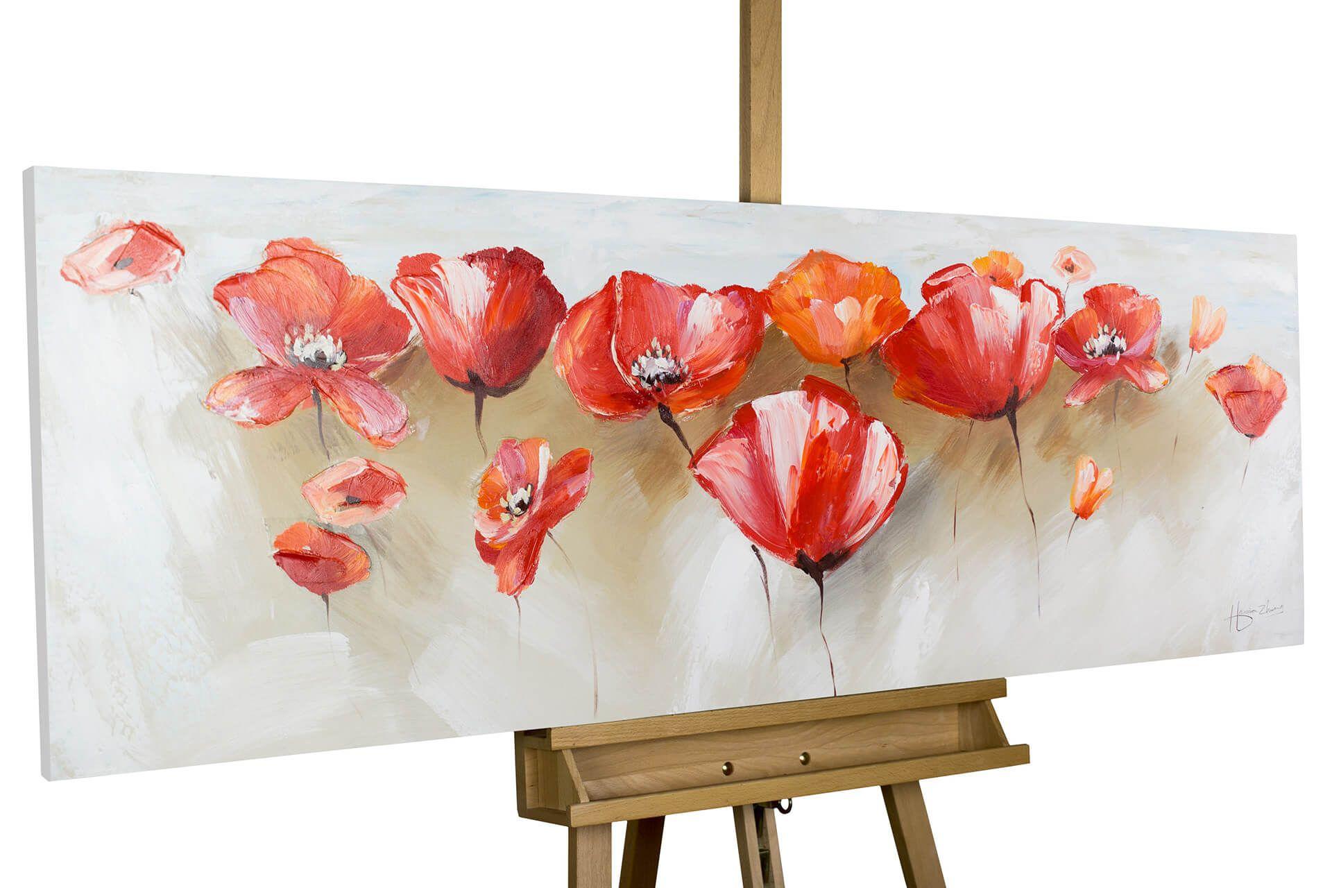 Acryl Gemalde Liebeserklarung Im Mohnblumenfeld 150x50cm In 2020 Bilder Leinwand Gemalde Handgemalte Bilder
