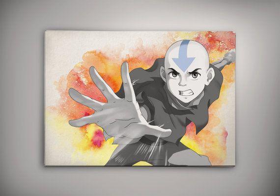 Avatar Aang The Last Airbender Anime Manga Watercolor Print Poster No688
