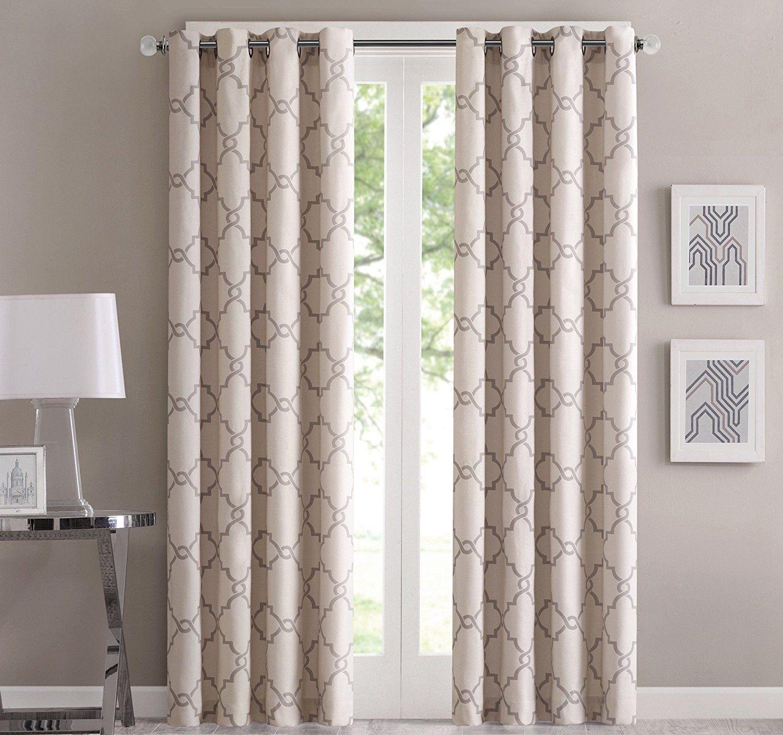 Beige scroll geometric pattern window curtain inch single panel