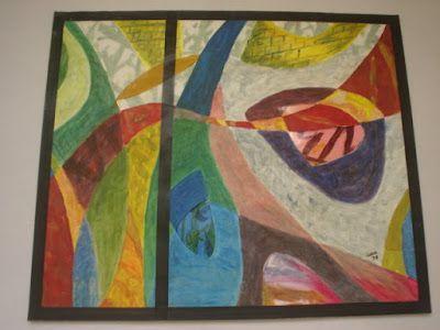 """Glas In Lood, acryl op papier, 50x60, 1998 (geïnspireerd door een raam in het """"oude"""" Ignatius Ziekenhuis., Wilhelminasingel, Breda) (out)"""