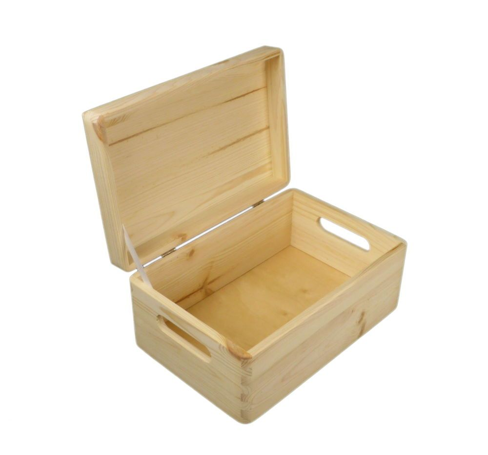 Plain Small Pine Wooden Storage Box / Trunk / Chest / With ...
