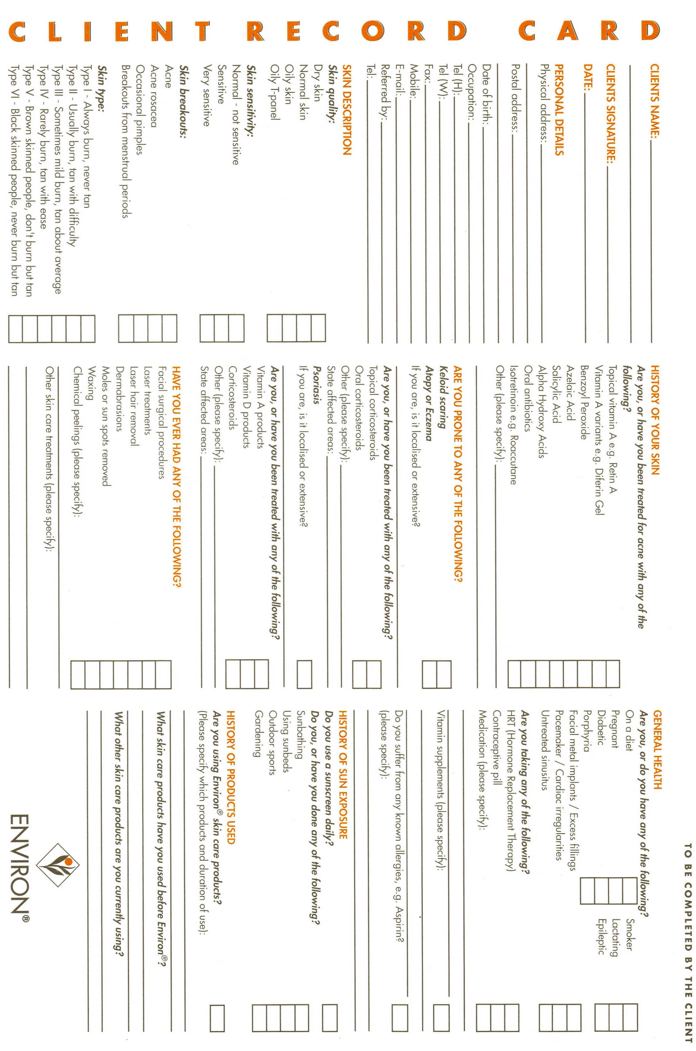 Client Record Card Pagehtm With Images Esthetician Esthetics