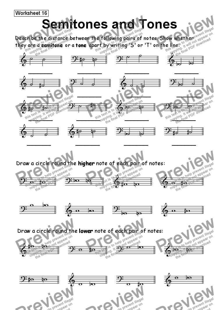 worksheet Tones And Semitones Worksheet pitch semitones and tones worksheet teaching music worksheet
