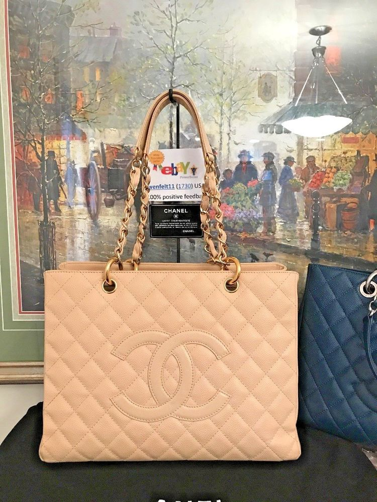4160ba99b76083 ❤CHANEL❤Clair Beige Caviar Leather❤Grand Shopping Tote Handbag Purse 100%  GST❤