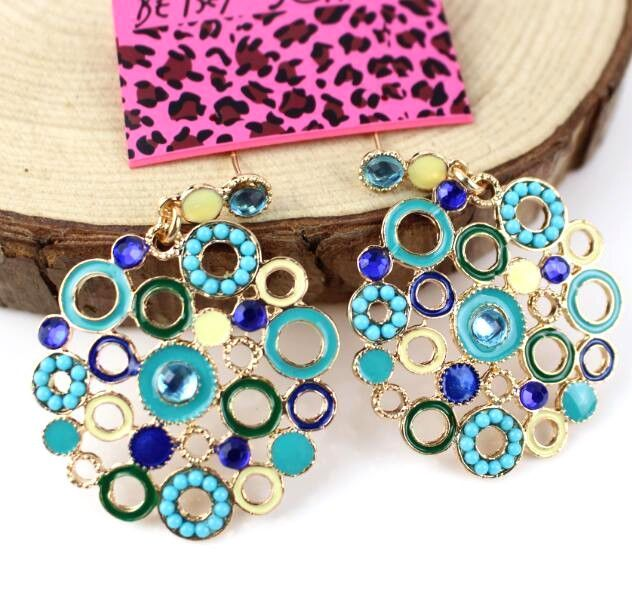 Jewelry Women Betsey Johnson Rhinestone Enamel Color Circle Retro Earrings Charm