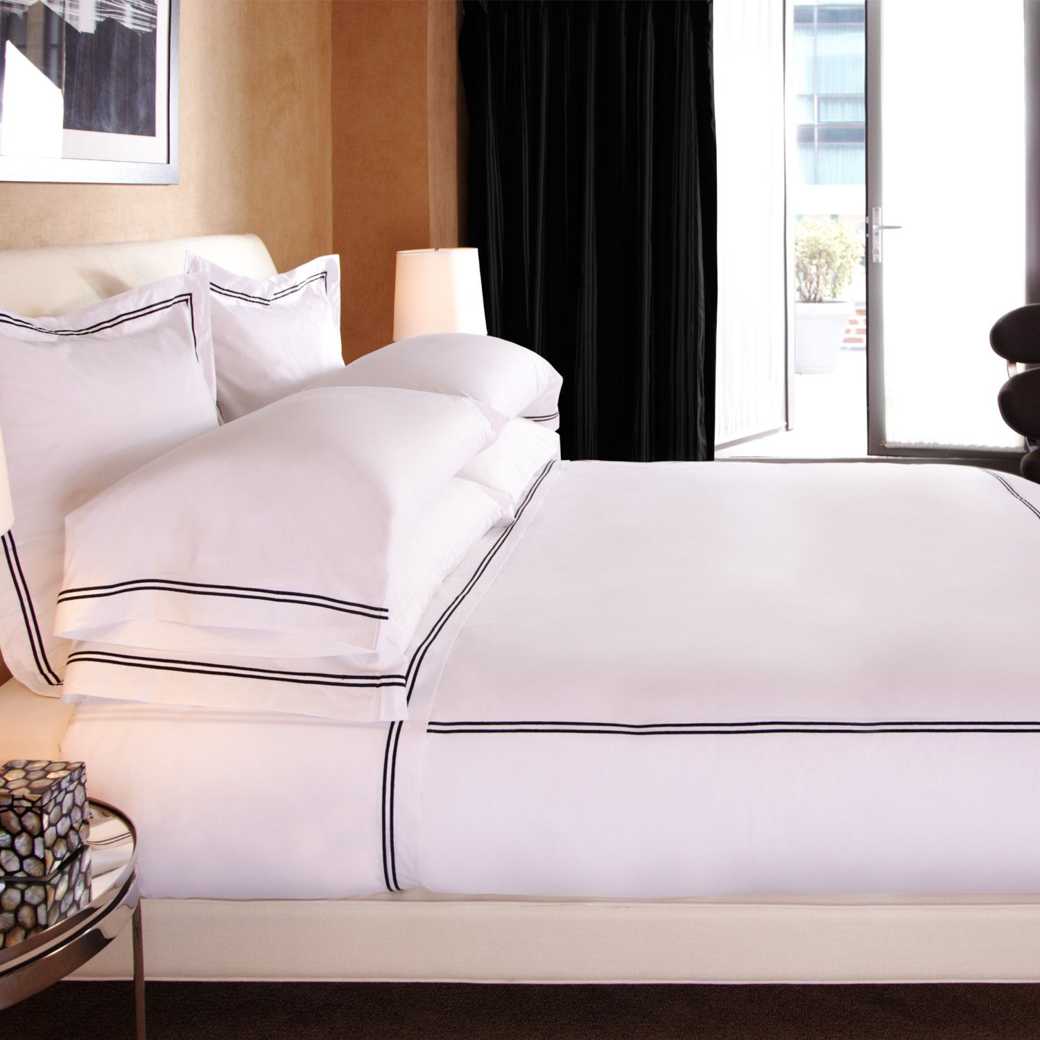 Frette Hotel Classic Collection The Best Sheets Pure White 100 Egyptian Cotton Finished With A Distinctive Tw Bed Linens Luxury Frette Bedding Hotel Bed