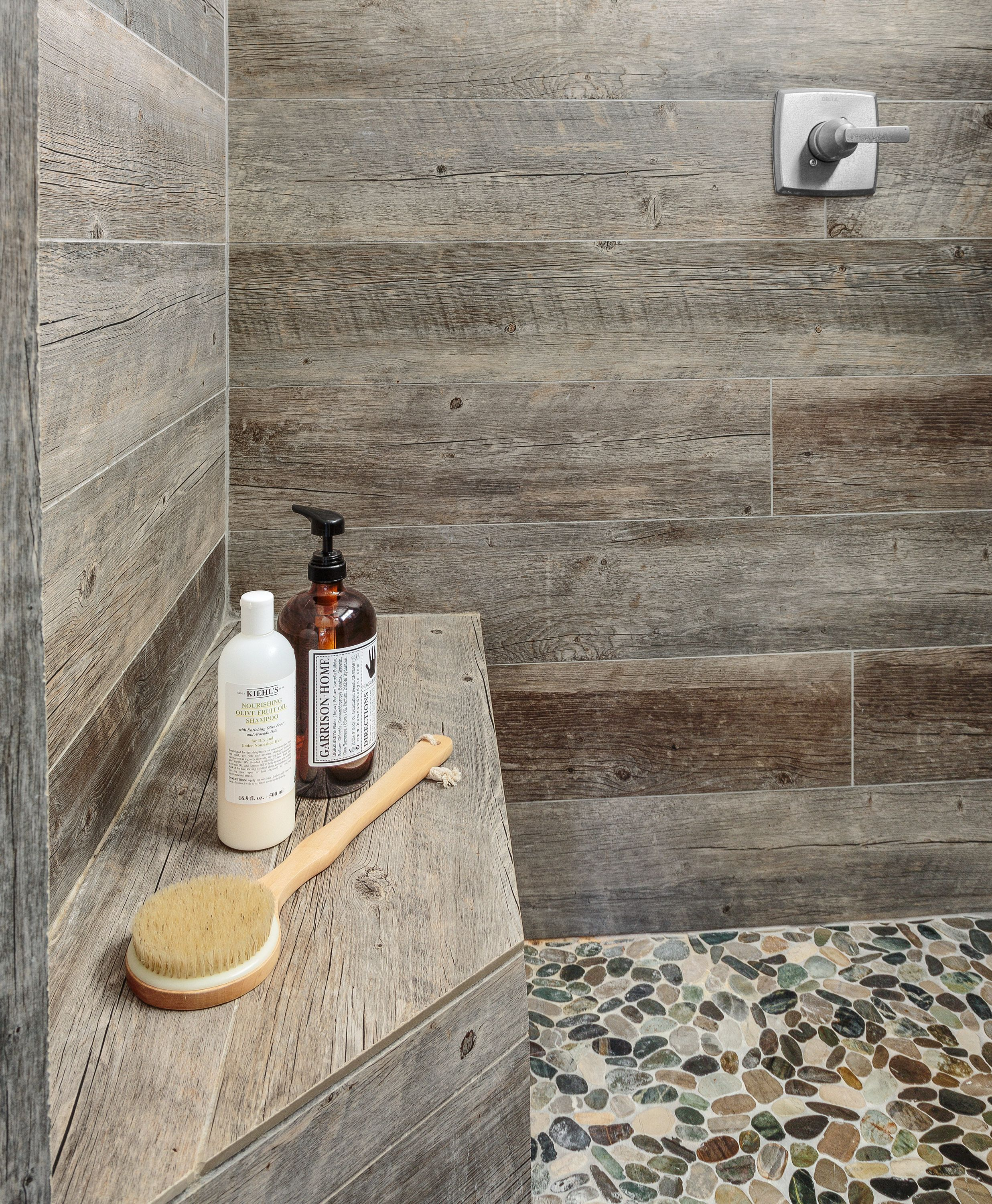 Before And After Bath Character Boost This Old House In 2020 Wood Tile Shower Shower Tile Wood Tile Bathroom
