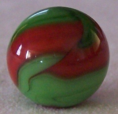 Cac Christensen Agate Green Red Swirl Marbles Antique