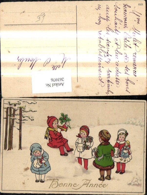 263976,Künstler Ak Kinder i. Schnee Geschenke Puppen Tröte Spielzeug