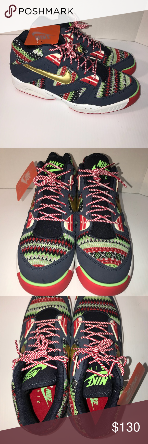 48fdf9892ace Nike Air Tech Challenge III QS Ugly Xmas Sz 10.5 NEW men s Sz 10.5 Nike Air  Tech Challenge III QS Ugly Xmas Sweater Gold Red Nike ID  827822-400 New  without ...