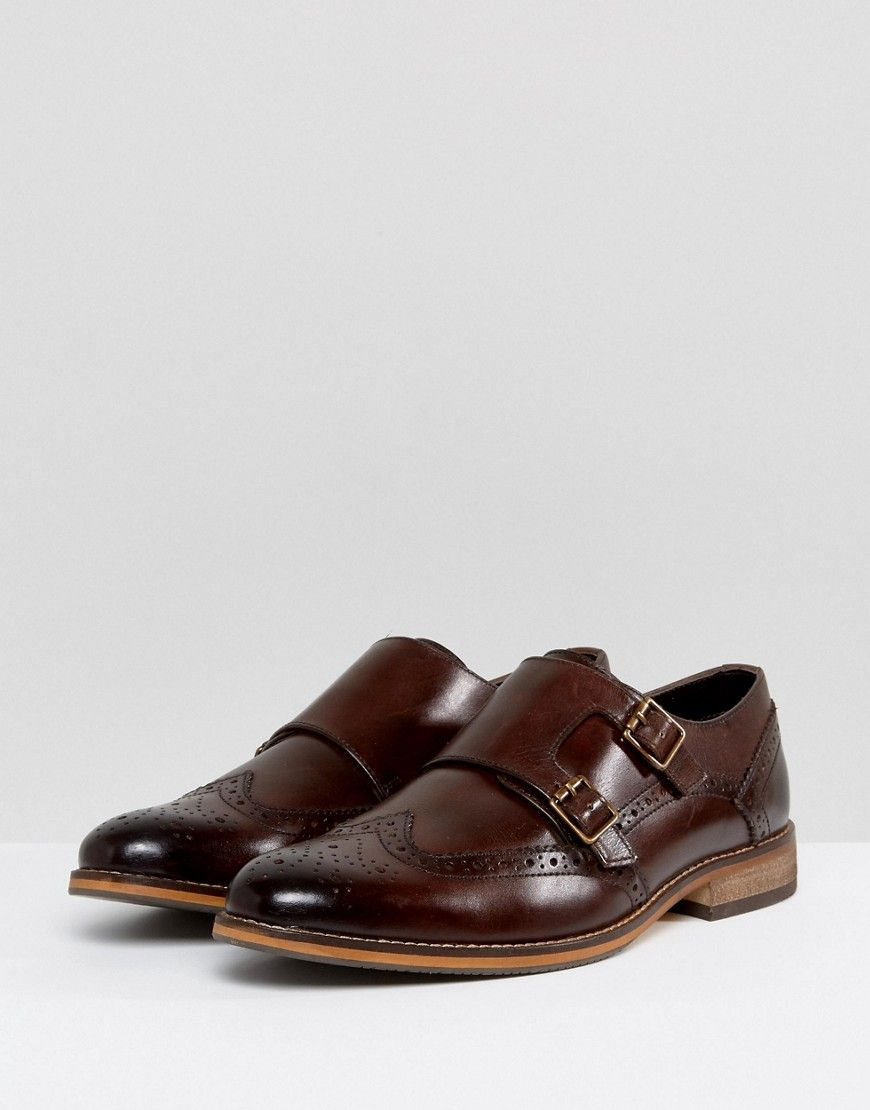 b3067b6db709 ASOS Monk Shoes In Brown Leather With Brogue Detail - Brown