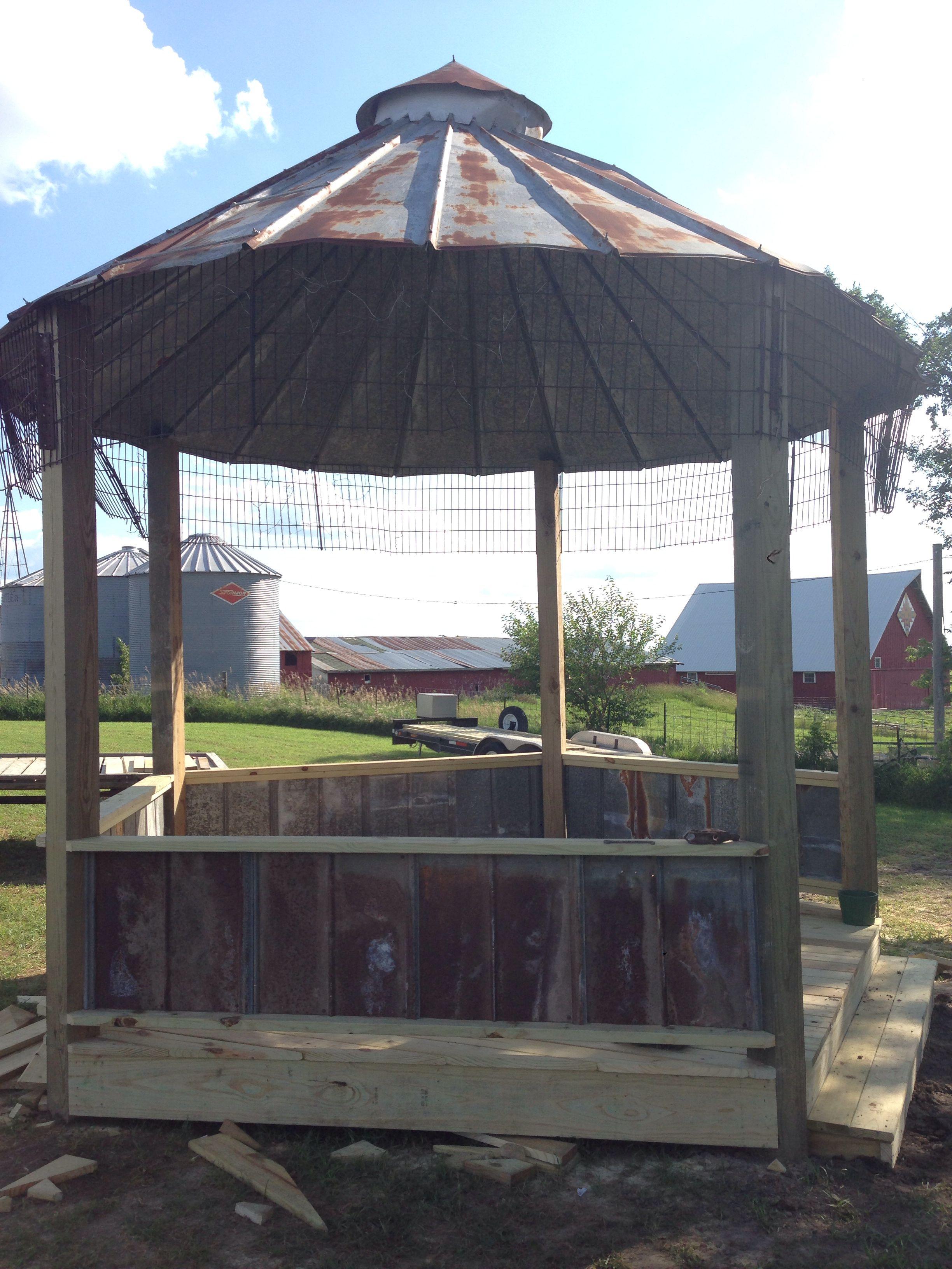 Corn crib gazebo with rustic tin roof chair rail gazebo for Rustic gazebo plans