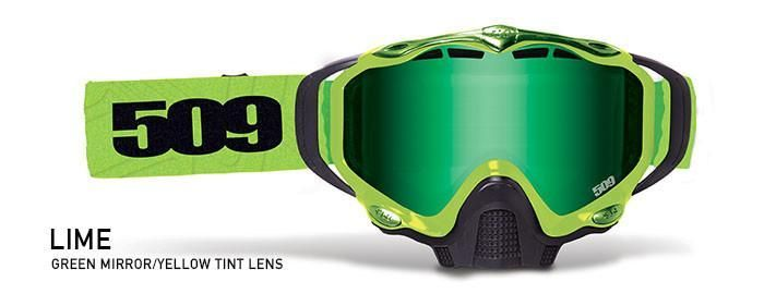 e6111fe449e 509 Sinister X5 Snow Goggle Lime with Green Mirror Bronze Tint Lens ...