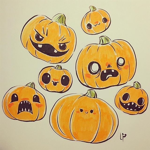 Inktober Day 23 So Many Cute Pumpkin Carvings Lately The Funniest Thing I Saw Was A Giant Pumpkin With A Teeny Tiny Face Inktober Teckningar Pumpor Bilder