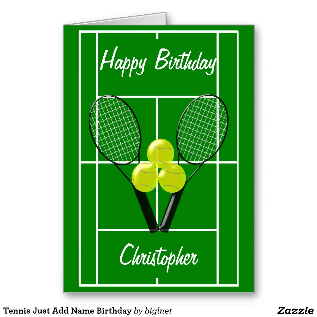 Tennis Just Add Name Birthday Card Zazzle Com In 2020 Birthday Cards For Boys Birthday Cards Birthday Greeting Cards