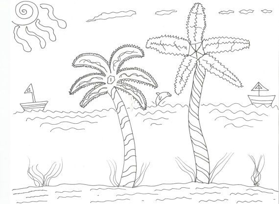 Tropical Getaway Coloring Page by GalleriaDanielle on Etsy