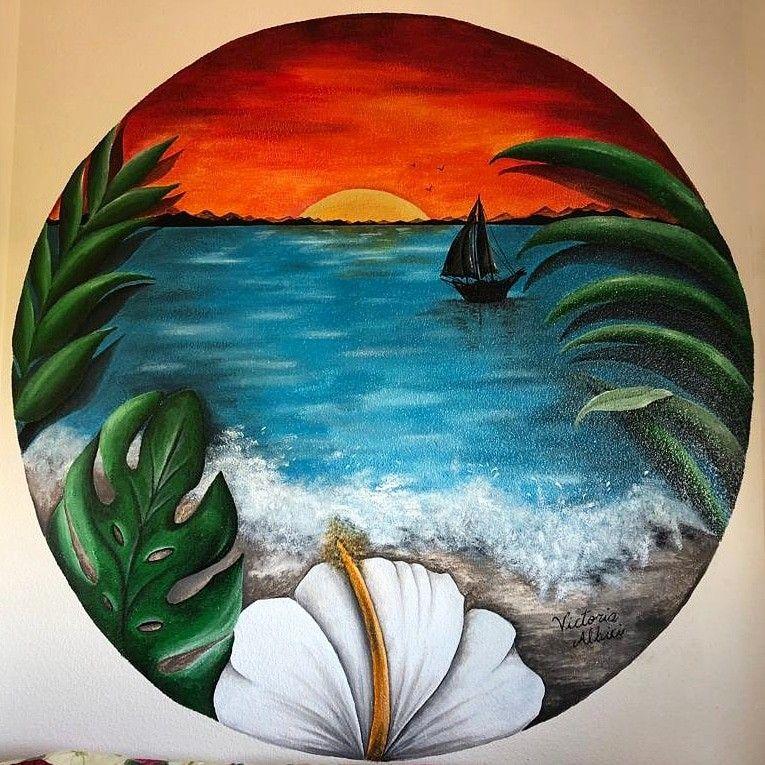 Flor Hawaiana Mar Olas Barco Vegetacion Atardecer Dibujo