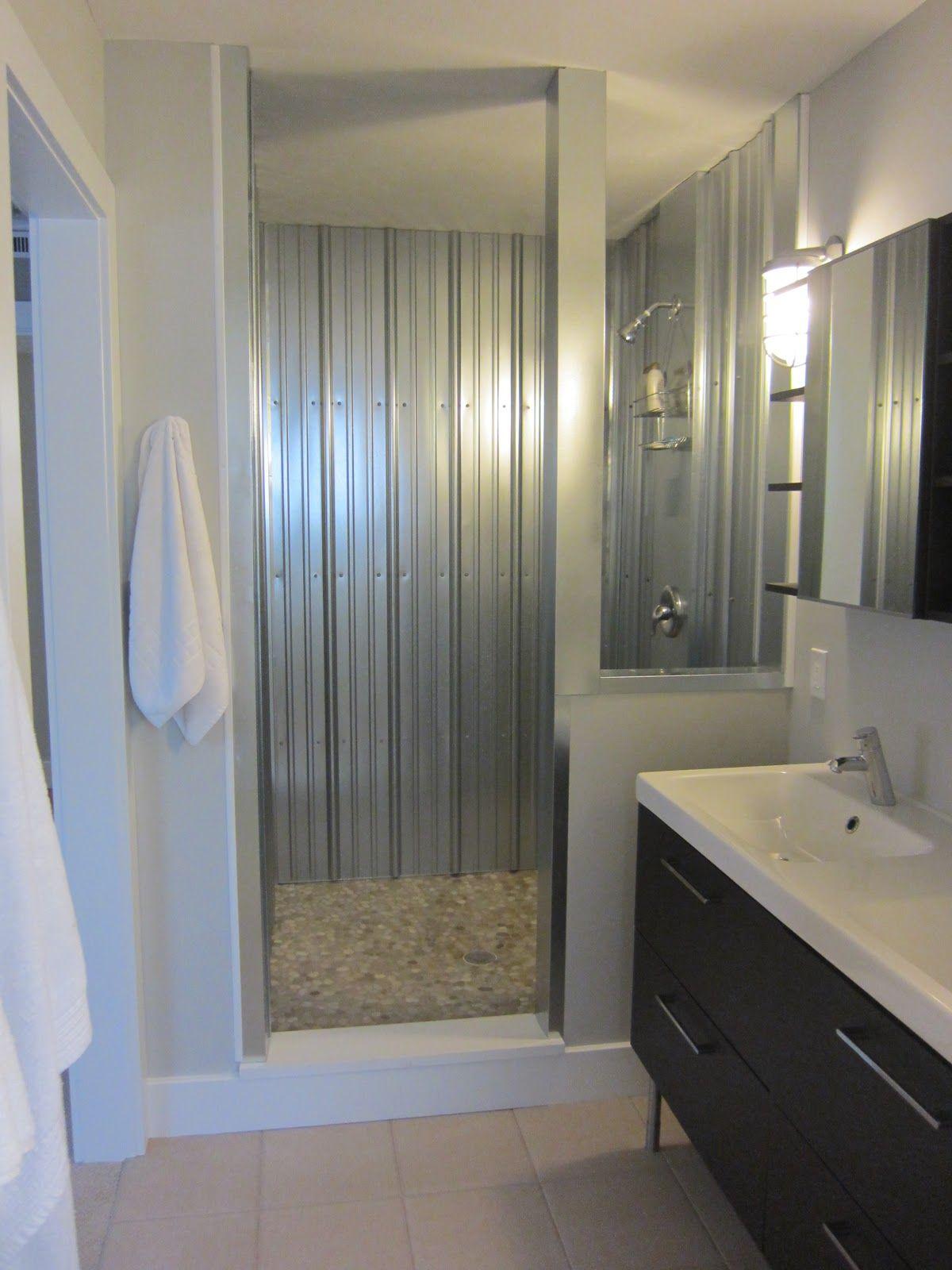 Corrugated Shower In 2020 Tin Shower Walls Galvanized