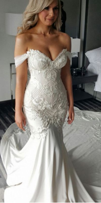 Photo of Charming Off Shoulder Mermaid Sweetheart Long Wedding Dress, SW95