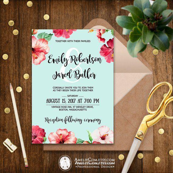 Hawaii Wedding Invitation Printable Tropical Invitations Blue Aloha