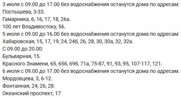 Во Владивостоке с 3 июля будут массово отключать воду http://actualnews.org/obshestvo/182691-vo-vladivostoke-budut-massovo-otklyuchat-vodu.html  Во Владивостоке с 3 июля начнётся массовое отключение холодной воды. Будут проводиться ремонтно-подготовительные работы.
