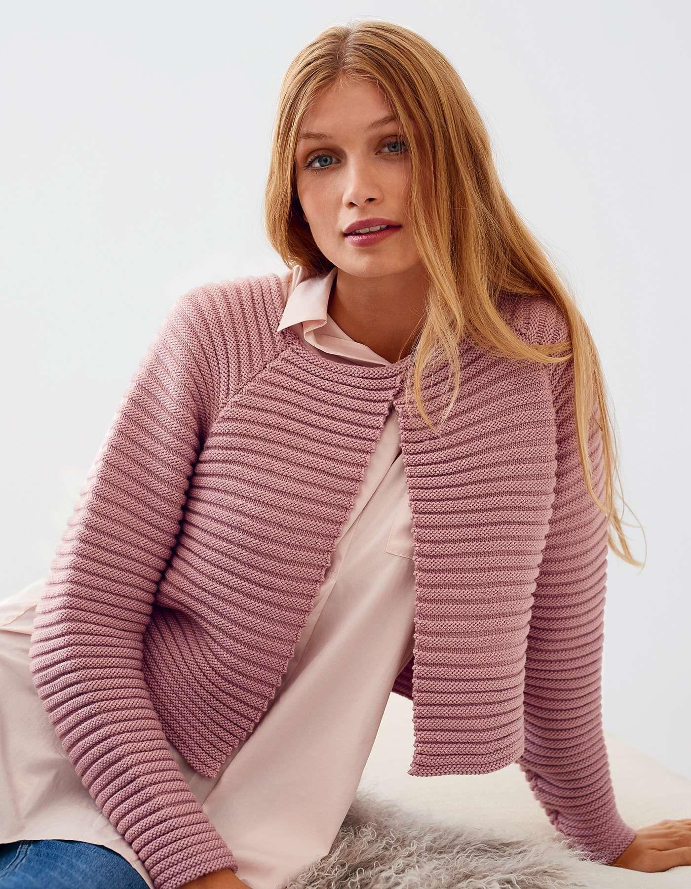 Photo of Beispiel für Kurzstrickjacke rosa