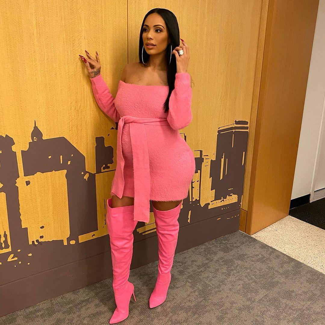Erica Mena Samuels On Instagram Big Pink Starburst Dress Boots Fashionnova Hot Pink Outfit Fashion Nova Dress With Boots