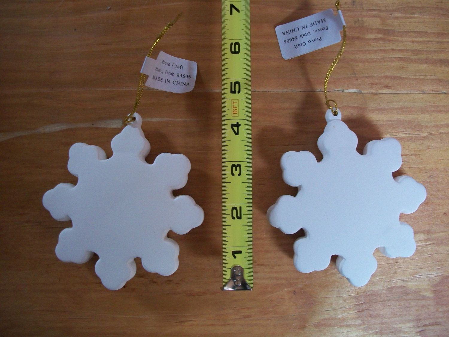 Ceramic snowflake ornaments - Two Unpainted Ceramic Bisque Snowflake Ornaments