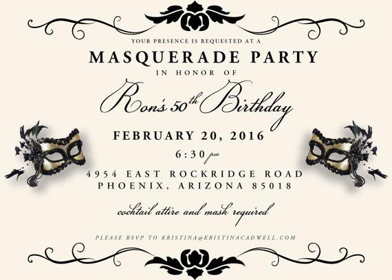Masquerade Party Invite, Quinceanera Invitation, Mardi Gras Party, Sweet 16, Elegant Mask, Fat Tuesd