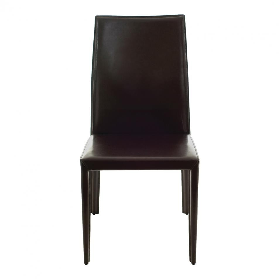 Euro style dafney leather chair set of 2 in brown dining