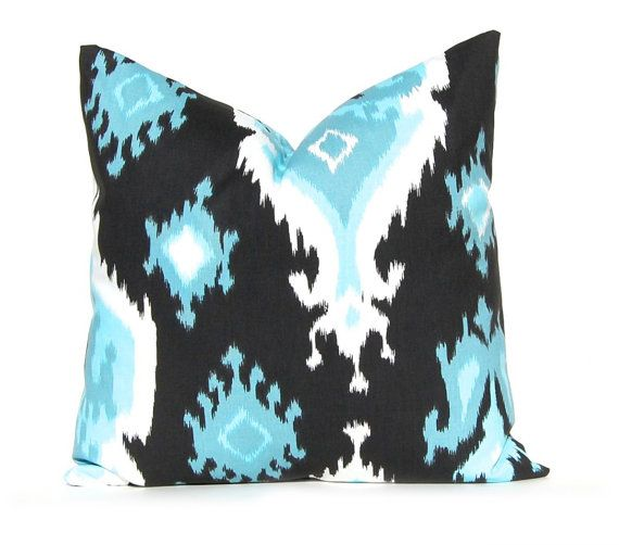 Decorative Throw Pillow Cover Blue And Black By Festivehomedecor Aqua Turquoise Pillow Black Ika Turquoise Pillows Decorative Throw Pillow Covers Throw Pillows
