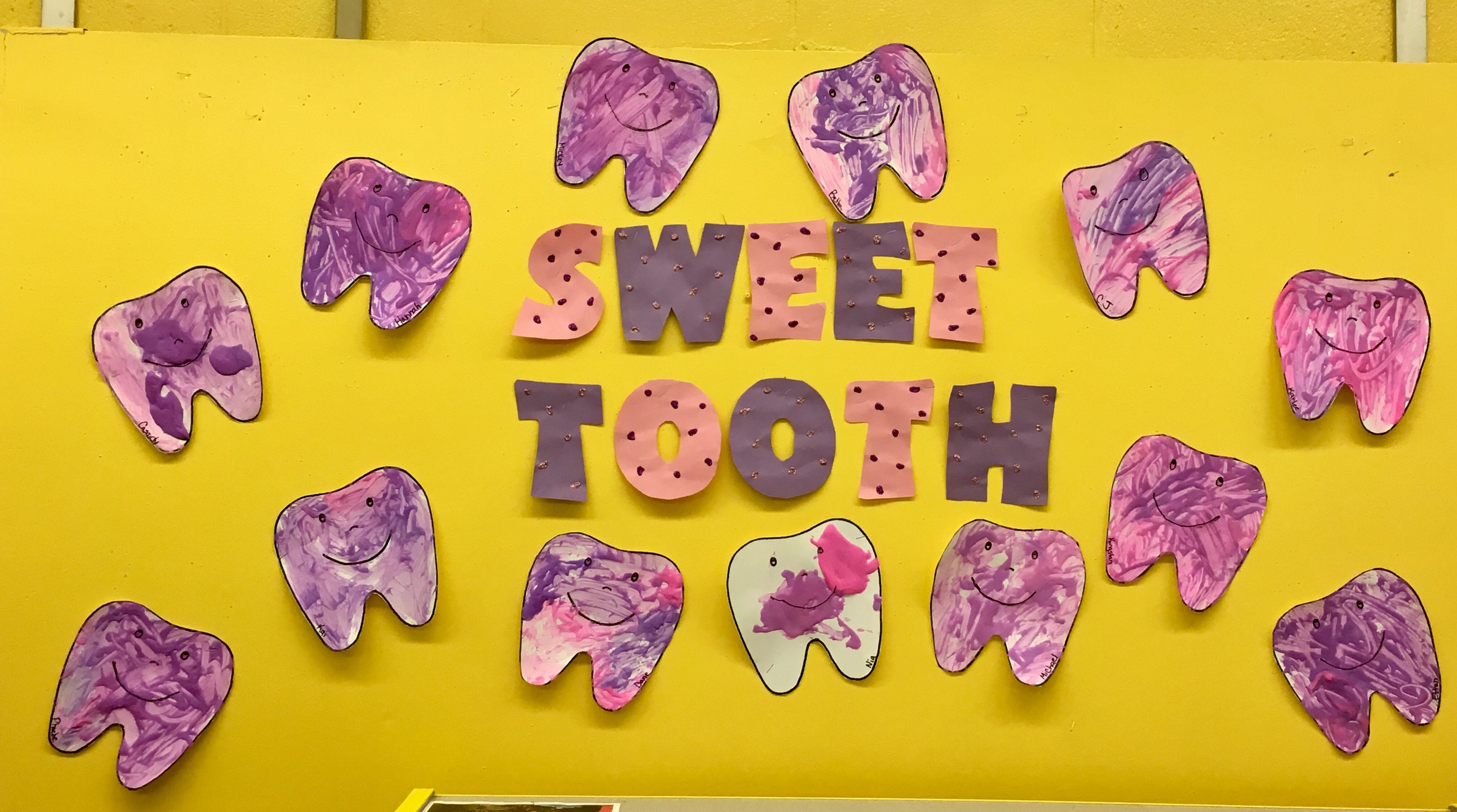 Healthy teeth theme paint with toothbrushes and puffy