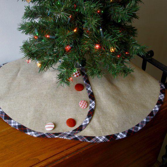 Linen Christmas Tree Skirt: For JANUARY Shipping -- Linen Pencil Christmas Tree Skirt
