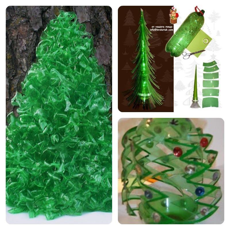 Rbol de navidad hecho con botellas de pl stico una idea for Adornos navidenos hechos con botellas plasticas