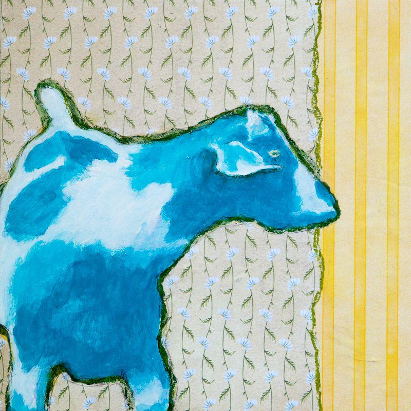 "Blue Goat  8"" x 8"" mixed media on panel"