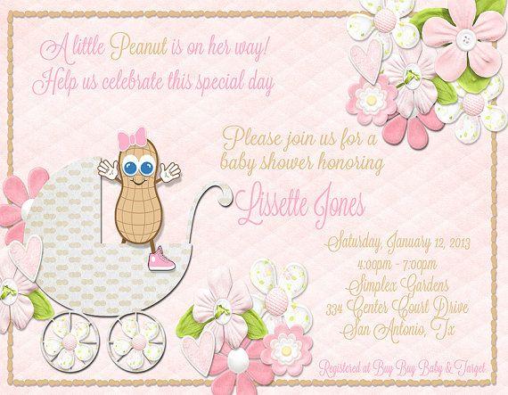 Little Peanut Baby Shower Invitation Baby Girl by debspartydesigns, $10.00