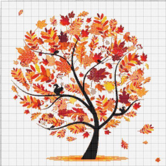 motivo Kit per ricamo punto croce albero colorato Winter