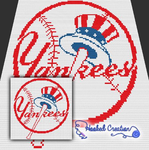 NY Yankees Mini C40C Throw Blanket Crochet Pattern PDF Download Best Yankees Throw Blanket