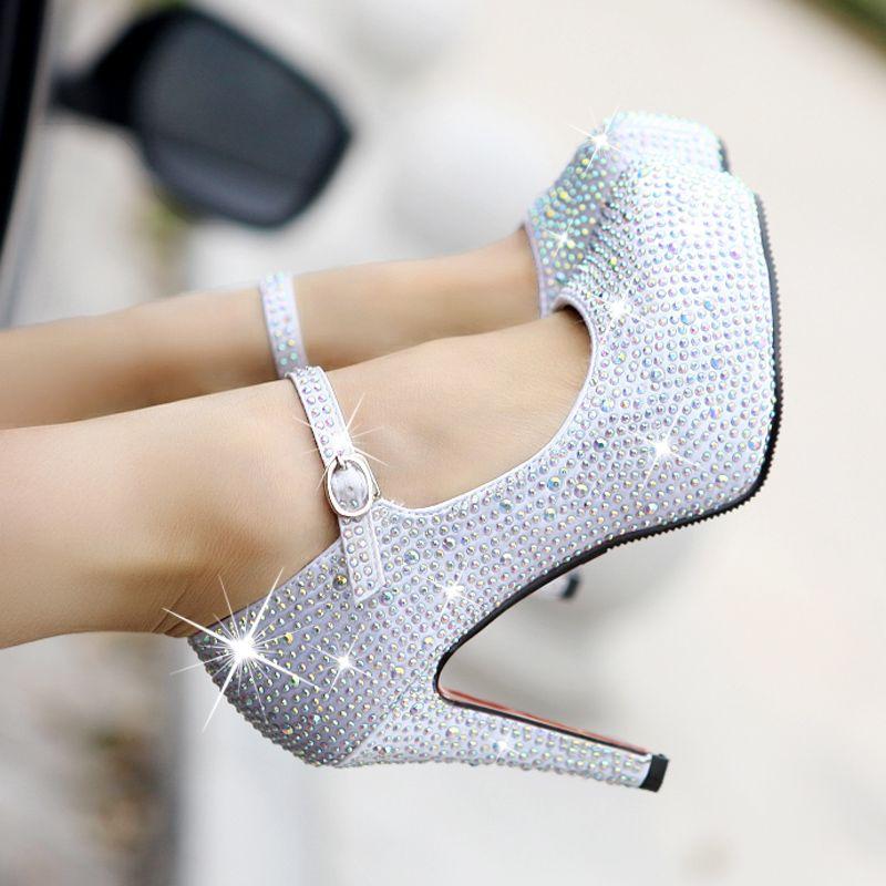 2013 New Red Silver Wedding Shoes Womens Pumps High Heeled Platformwhite Crystalgenuine Single