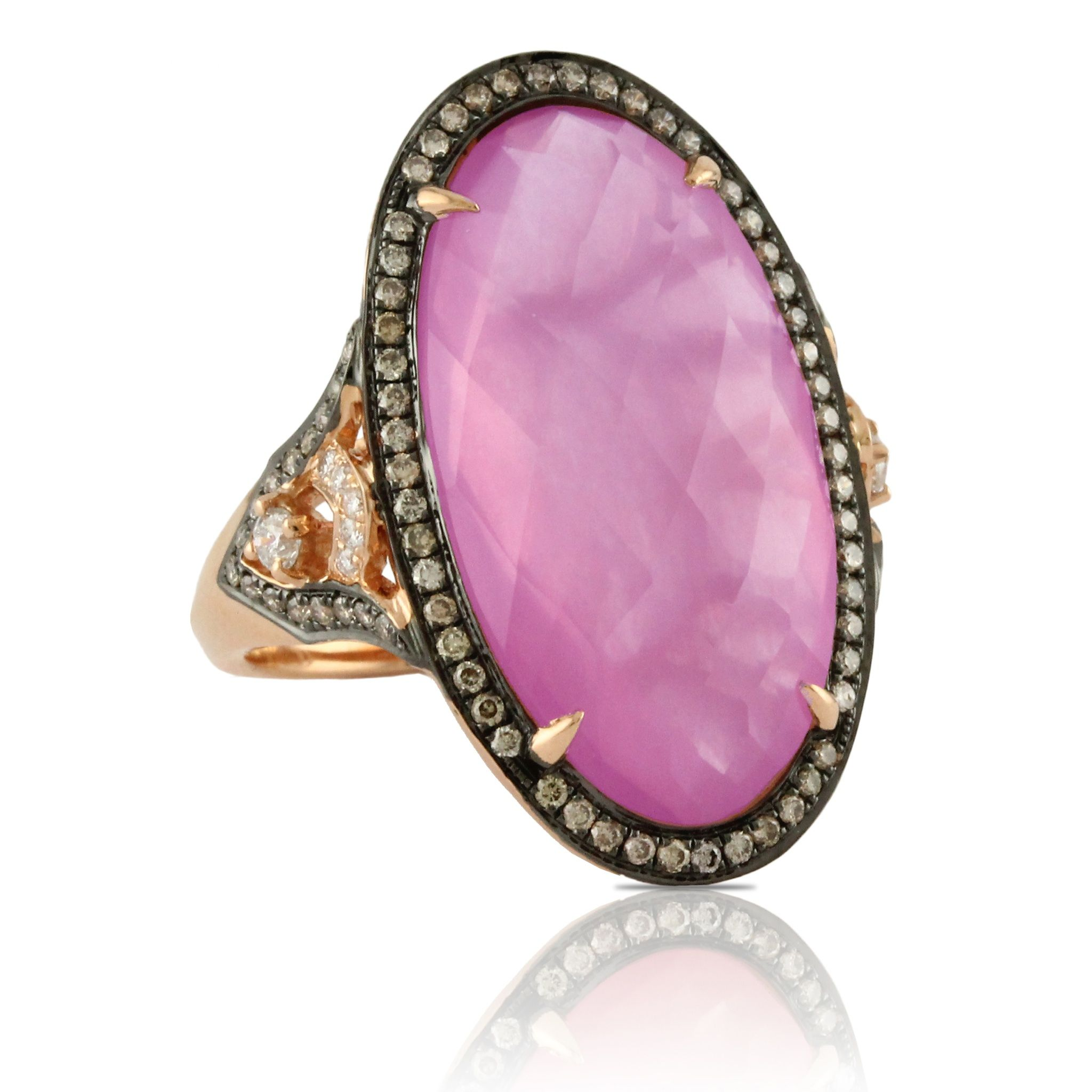 Our amethyst and pink mother of pearl ring is flawless. Surrounded ...