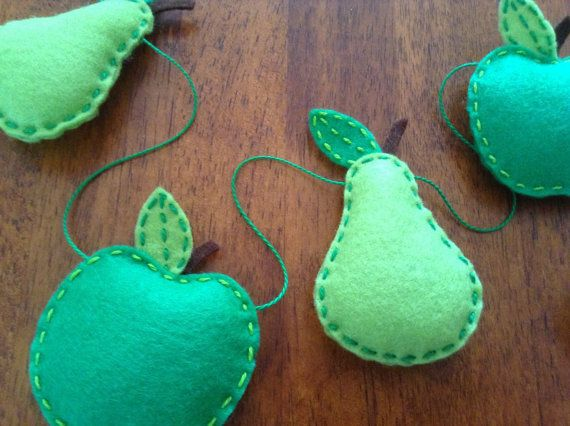 Hand sewn felt apples and pears bunting. by SoWoolly on Etsy, £14.95