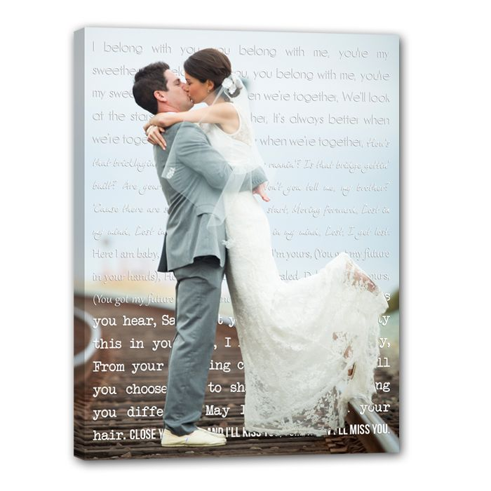 Wedding Photo Gift Ideas Words In Background Printed On Canvas Lyrics Or Vows Love This