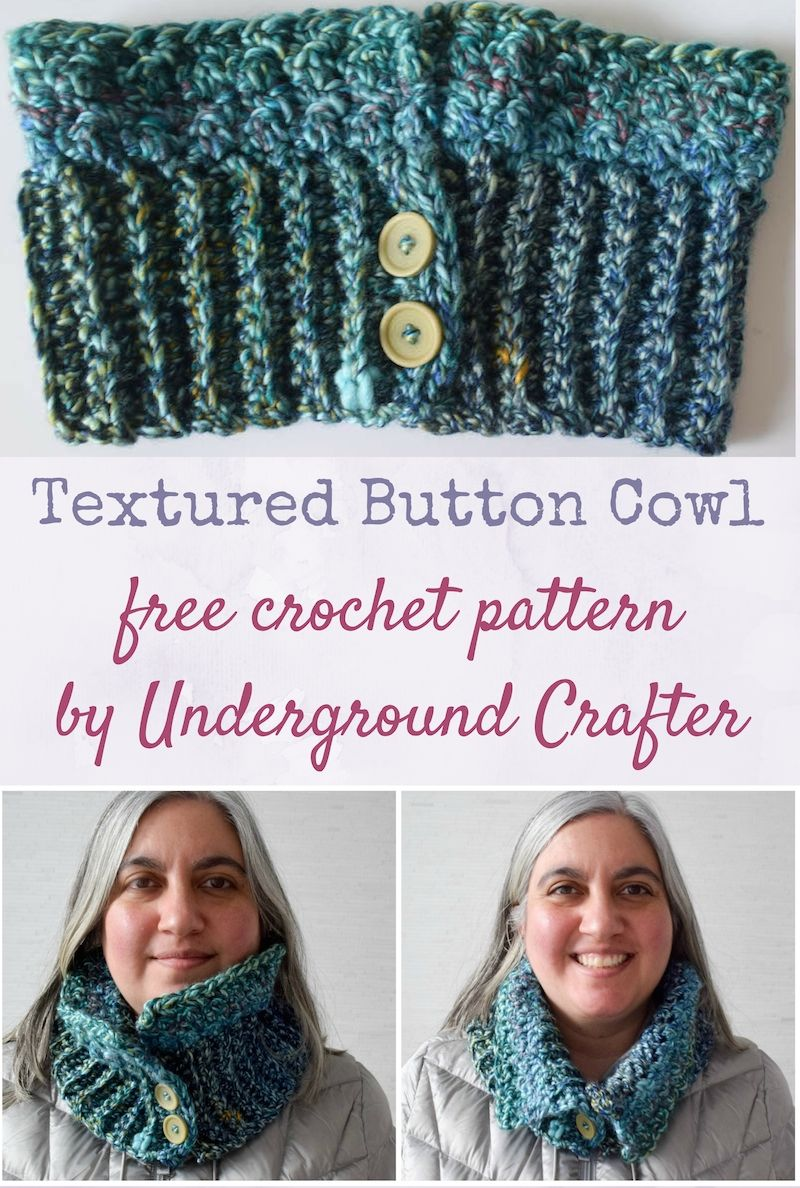 Textured Button Cowl, free crochet pattern in Red Heart Medley yarn ...