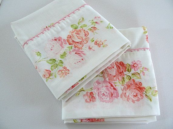 PAIR of pink roses daisies shabby chic pillowcases vintage