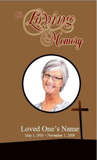 Single Fold Cross Memorial Program Funeral Memorial Microsoft