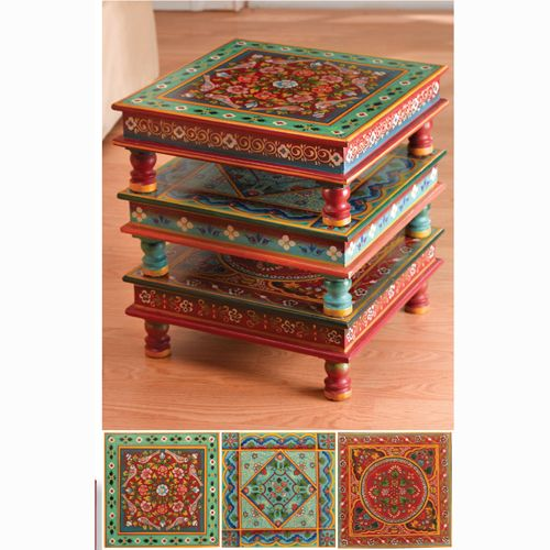 Hand Painted Indian Stacking Table   Turquoise